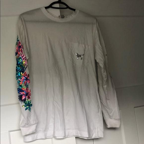 Victoria secret pink sleeve sequin long sleeve